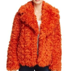 Kendall & Kylie Cropped Faux Fur Coat Orange  NWT